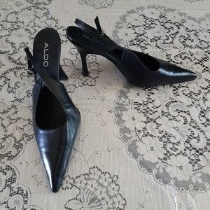 Aldo Black Pointy Toe Sling Back Heel Shoes 6